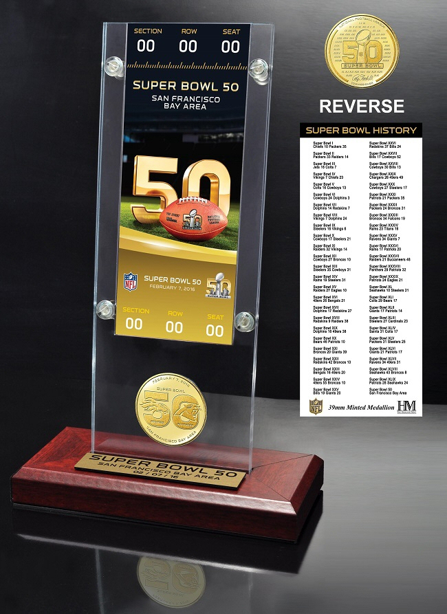 Super Bowl 50 Ticket & Bronze Flip Coin Acrylic Desk Top