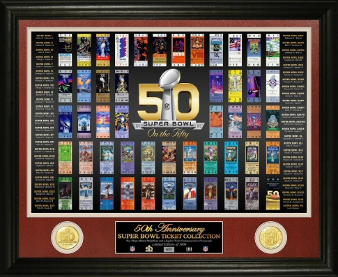 Super Bowl 50th Anniversary Ticket Collection Bronze Coin Photo Mint