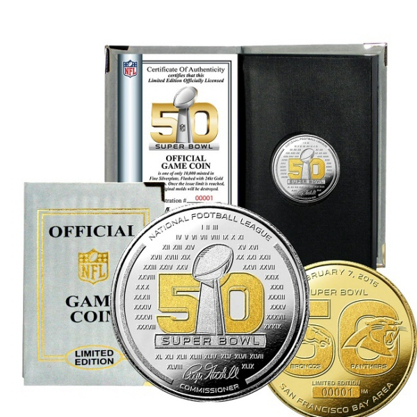 Highland Mint Super Bowl 50 Official 2-Tone Flip Coin